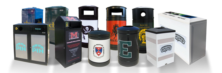 School Recycling Bins, Containers and Campus Trash Receptacles